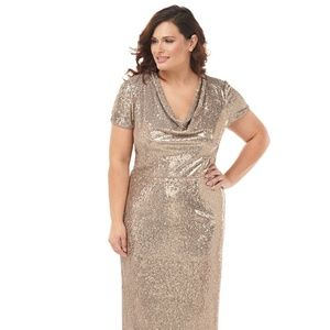 NWT🌟 JS COLLECTIONS Gold Sequin Cowl Neck Gown